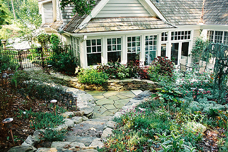 Stone work in the backyard